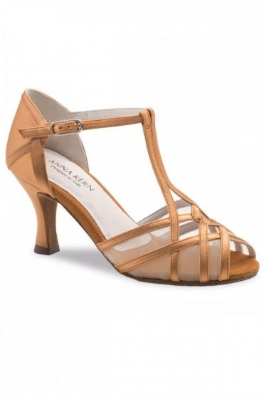 Damen Latein Sandalen aus bronzem Satin
