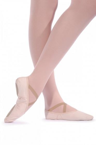 Ballettschläppchen mit geteilter Sohle aus Leinen - Weite Passform