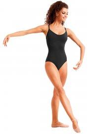 Tanztrikot mit tiefem Rückenausschnitt und strassverzierten Trägern