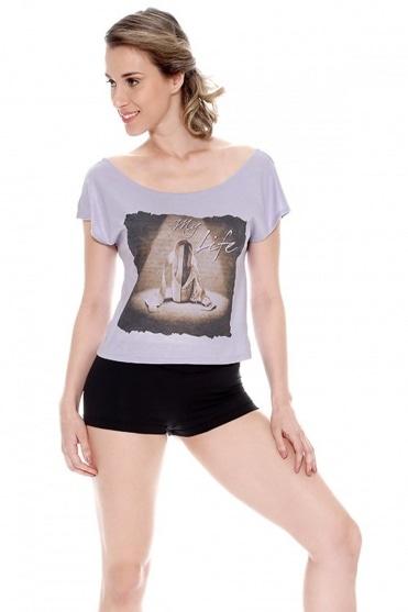 T-Shirt mit Raffung hinten